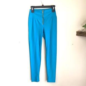 Pants - blue aqua shiny disco pants leggings size large